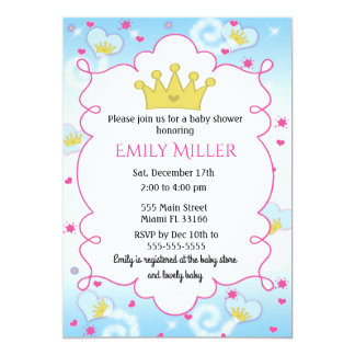 Princess Butterly Girl Baby Shower Invitation