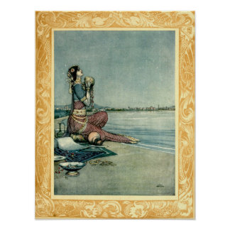 Princess By The Sea by Heath Robinson Poster