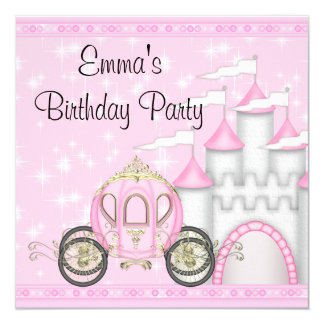 Princess Carriage Castle Girls Princess Birthday 13 Cm X 13 Cm Square Invitation Card