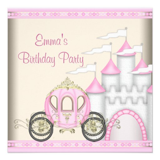 Princess Carriage Castle Girls Princess Birthday Personalized Invite