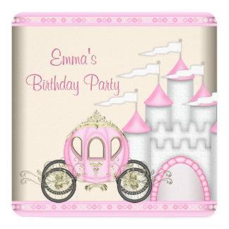 "Princess Carriage Castle Girls Princess Birthday 5.25"" Square Invitation Card"