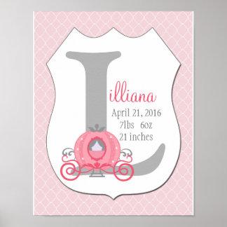 Princess Carriage Initial Birth Stats Art Print