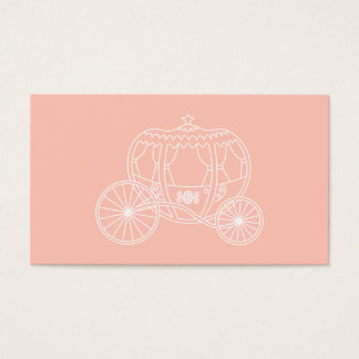 Princess Carriage on Coral Pink Color. Business Card