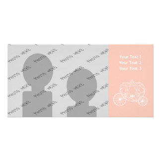 Princess Carriage on Coral Pink Color Photo Card