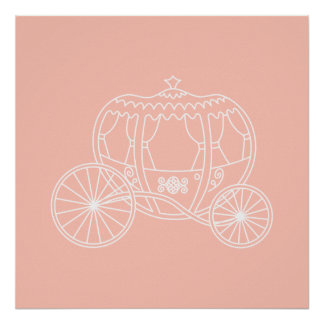 Princess Carriage on Coral Pink Color Posters