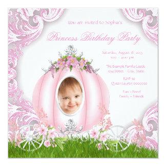 Princess Carriage Photo Birthday Party 13 Cm X 13 Cm Square Invitation Card