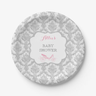 Princess Carriage Storybook Pink Damask Fairytale 7 Inch Paper Plate
