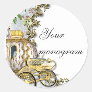 Princess Carriage Wedding Envelope Seals Labels Round Sticker