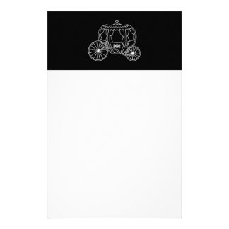 Princess Carriage, White on Black. Stationery Paper