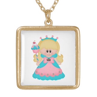Princess Cartoon Girl Holding Cupcake Pink Teal Gold Plated Necklace