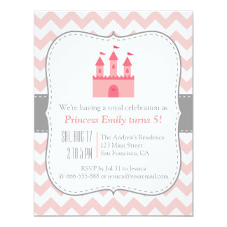 Princess Castle Birthday Party, Pink White Chevron Card