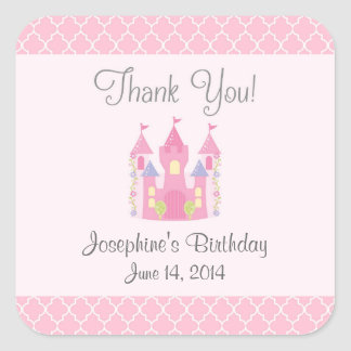 Princess Castle Birthday Stickers (Pink)