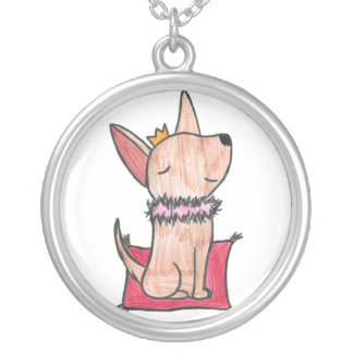 Princess Chihuahua Round Pendant Necklace