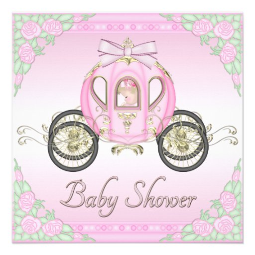 Princess Coach and Roses Pink Baby Shower Custom Announcements