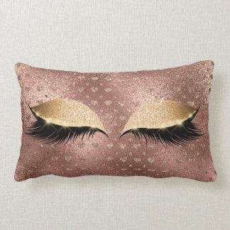 Princess Copper Rose Gold Glitter Lashes Hearts Lumbar Cushion