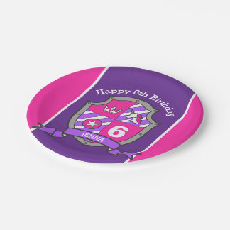 Princess crest 6th birthday pink party plate 7 inch paper plate