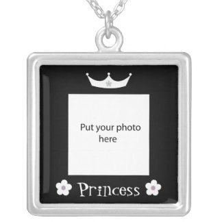Princess Crown Black Border Template Add Photo Silver Plated Necklace
