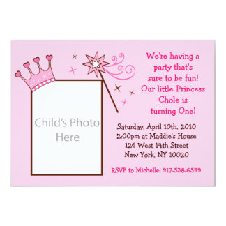 Princess Crown Custom Photo Birthday Invitations