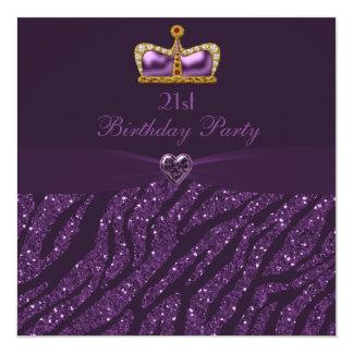 Princess Crown Heart & Zebra Glitter 21st Birthday Card