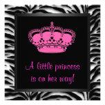 Princess Crown Hot Pink Zebra Baby Girl Shower Personalised Invites