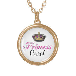 Princess crown in hot pink round pendant necklace