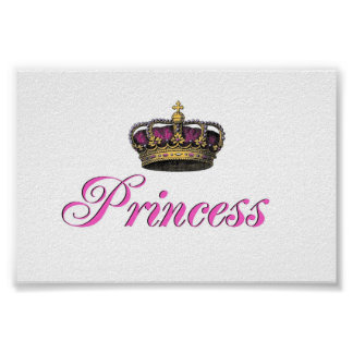 Princess crown in hot pink posters