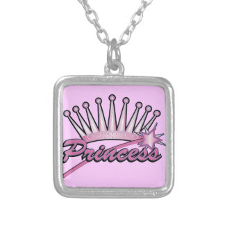 Princess Crown Square Pendant Necklace