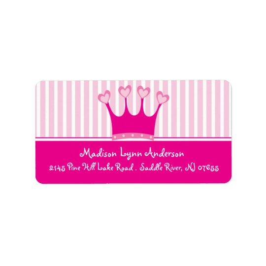 Princess Crown Return Address Labels. Address Label