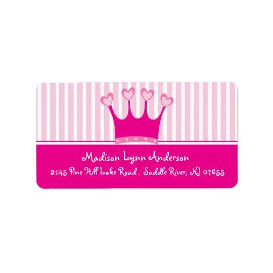 Princess Crown Return Address Labels. Label