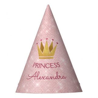 Princess Crown Rose Gold Blush Pink Sparkle Party Hat