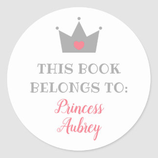 Princess Crown | This Book Belongs To Classic Round Sticker