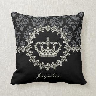 Princess Crown Vintage Damask Pillow Cushions