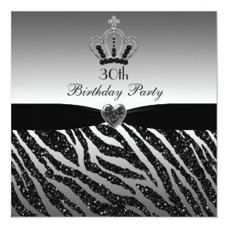 Princess Crown Zebra Glitter 30th Birthday 13 Cm X 13 Cm Square Invitation Card