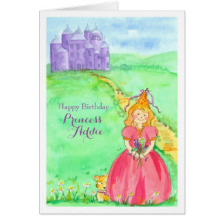 Princess Custom Name Happy Birthday Card