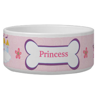 Princess Custom Pet Dog Food Bowl - Pink