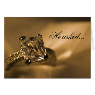 Princess Cut Diamond Ring Engagement Announcement Greeting Card