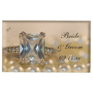 Princess Diamond Ring and Pearls Wedding Place Card Holder