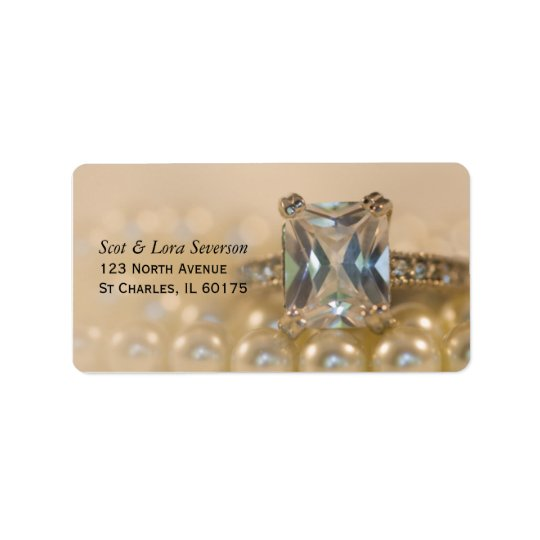 Princess Diamond Ring and White Pearls Wedding Address Label