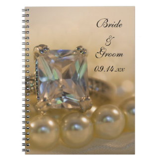 Princess Diamond Ring and White Pearls Wedding Spiral Note Book