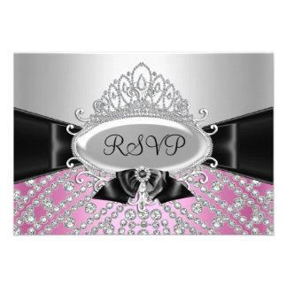 Princess Diamond Tiara Bow RSVP Invitation