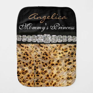 Princess & Diamonds Burp Cloth Leopard Print