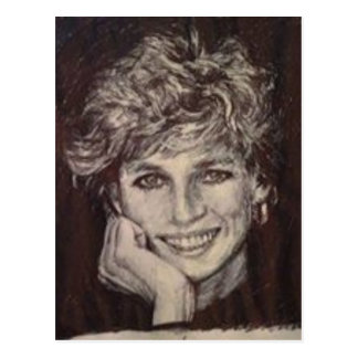 PRINCESS DIANA INK PEN PORTRAIT POSTCARD