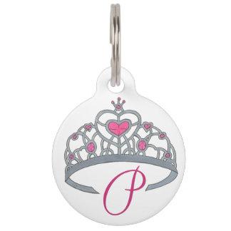 Princess Dog Pink Silver Tiara Royalty Queen Crown Pet Tag