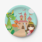 Princess Dragon and Knight Paper Plate