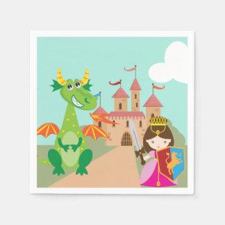 Princess Dragon and Knight Paper Serviettes