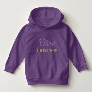 Princess Elegant Golden Glitter Typography Purple Hoodie