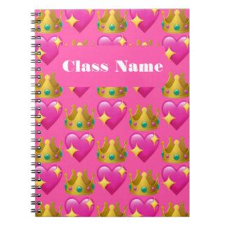 Princess Emoji Spiral Notebook (80 Pages B&W)