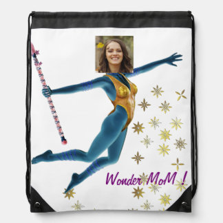 Princess Fairy Wand, Blue - with YOUR Photo - Drawstring Bag