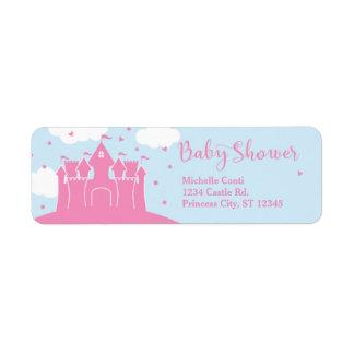 Princess Fairytale Castle Baby Shower Label