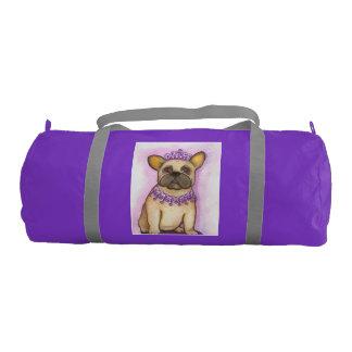 Princess French Bulldog duffle gym bag